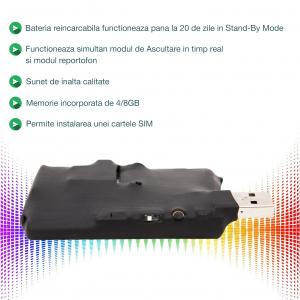 Microfon Spion Hibrid - GSM + Reportofon Spy -  Activare Vocală Dublă - 73 de Ore Stocare - Model ACCOMB731
