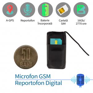 Microfon Spion Hibrid Profesional - Microfon Gsm cu Activare Vocală + Reportofon + AGPS, 2999 Ore Stocare0