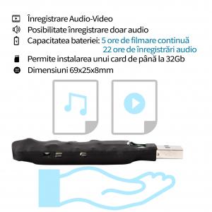 Modul Spy Profesional - Cameră Video cu Autonomie 5 ore și Reportofon 22 de Ore Autonomie, 0,8 mm , 13 Grame2