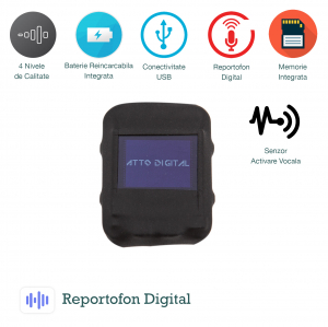 Mini Reportofon Spion Configurabil 8GB | cu Activare Vocala  | 568 de Ore | 1536 Kbps | SAM08 |0