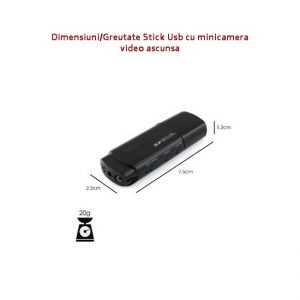 Cameră Video cu Night Vision Ascunsă în Stick USB de Memorie, Rezoluție Video: 1920x1080P, Suportă Card Micro-SD 32GB, Autonomie 120 Minute