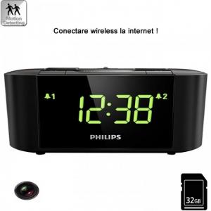 Camera Video Spion Wi-Fi IP P2P Camuflata in Ceas de Birou cu Radio, Senzor de Miscare si Rezolutie 1920x1080p0