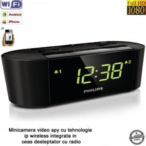 Camera Video Spion Wi-Fi IP P2P Camuflata in Ceas de Birou cu Radio, Senzor de Miscare si Rezolutie 1920x1080p1