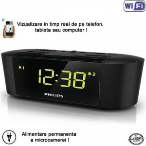 Camera Video Spion Wi-Fi IP P2P Camuflata in Ceas de Birou cu Radio, Senzor de Miscare si Rezolutie 1920x1080p2