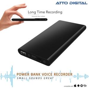 Reportofon Spion Ascuns în PowerBank, Autonomie 380 Ore, Funcție de Activare Vocală, Sunet UltraClear, Memorie 8GB,  Slim PowerREC0