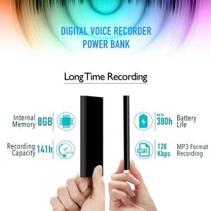 Reportofon Spion Ascuns în PowerBank, Autonomie 380 Ore, Funcție de Activare Vocală, Sunet UltraClear, Memorie 8GB,  Slim PowerREC3