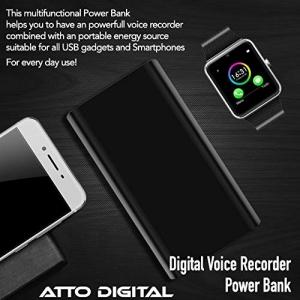 Reportofon Spion Ascuns în PowerBank, Autonomie 380 Ore, Funcție de Activare Vocală, Sunet UltraClear, Memorie 8GB,  Slim PowerREC4