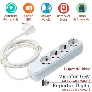 Prelungitor Hirid Spy cu Reportofon (Activare Vocala) + Microfon GSM (Activare Vocala) – Model Profesional, 140 Ore Stocare0