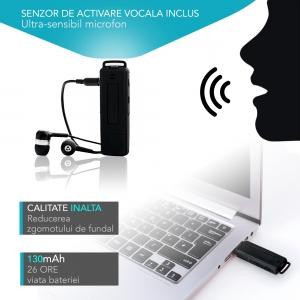 Reportofon Spion Ultra-Profesional Camuflat în Stick USB cu Activare Vocală | 8GB/564 de ore | Clear HD 384kbps/32kbps | Baterie 26 de Ore | Căști Incluse | MAA-V8GB5