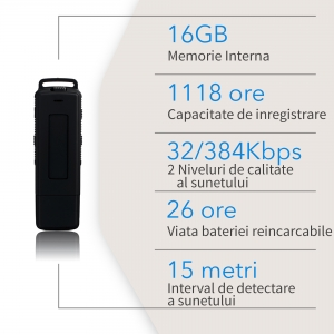 Reportofon Spion cu Activare Vocala in Stick USB, 16Gb-1128 de ore, 26 de ore autonomie, Ultra-Profesional, Clear HD 384kbps, Casti, MiniTehnics MAA-V16Gb7