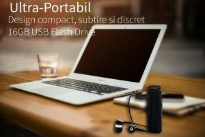 Reportofon Spion cu Activare Vocala in Stick USB, 16Gb-1128 de ore, 26 de ore autonomie, Ultra-Profesional, Clear HD 384kbps, Casti, MiniTehnics MAA-V16Gb2
