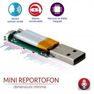 Reportofon Spion Incorporabil, Stocare 145 Ore, Senzor de Activare la Voce, Sunet Ultra Clear, 8GB0