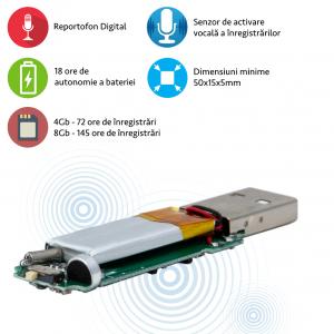 Reportofon Spion Incorporabil, Stocare 145 Ore, Senzor de Activare la Voce, Sunet Ultra Clear, 8GB1