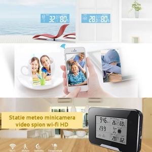 Cameră Video Spy Integrată în Stație Meteo, IP Wi-Fi, P2P, Full HD, Detector de Mișcare, Card MicroSD 32GB3