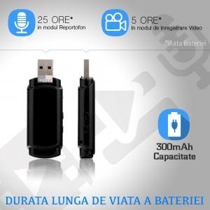 Cameră Video Spion cu Reportofon în Stick USB de Memorie | Autonomie Baterie - 5 Ore în Modul Video | Funcție Reportofon - 26 de Ore | Suportă Micro-SD Card de Maxim 32GB2