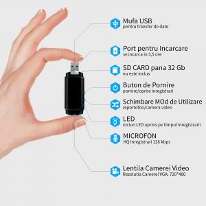 Cameră Video Spion cu Reportofon în Stick USB de Memorie | Autonomie Baterie - 5 Ore în Modul Video | Funcție Reportofon - 26 de Ore | Suportă Micro-SD Card de Maxim 32GB1