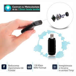 Cameră Video Spion cu Reportofon în Stick USB de Memorie | Autonomie Baterie - 5 Ore în Modul Video | Funcție Reportofon - 26 de Ore | Suportă Micro-SD Card de Maxim 32GB5