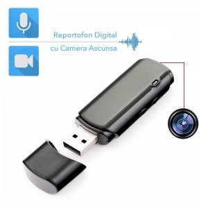 Cameră Video Spion cu Reportofon în Stick USB de Memorie | Autonomie Baterie - 5 Ore în Modul Video | Funcție Reportofon - 26 de Ore | Suportă Micro-SD Card de Maxim 32GB0