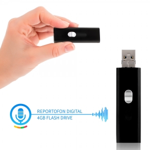 Reportofon Spion cu Activare Vocala Ascuns in Stick USB de Memorie | 4GB - 74 de Ore |  Solutie Optima SR094GB220