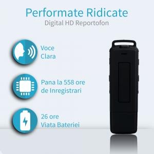Stick USB cu Reportofon Spion Incorporat | Memorie: 8GB/560 de ore inregistrari | Calitate audio: Ultra Clear HD | Casti - ascultare directa a inregistrarilor | Baterie: 25 de Ore0