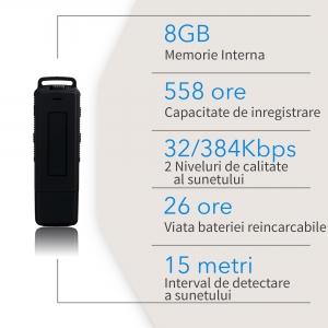 Stick USB cu Reportofon Spion Incorporat | Memorie: 8GB/560 de ore inregistrari | Calitate audio: Ultra Clear HD | Casti - ascultare directa a inregistrarilor | Baterie: 25 de Ore9