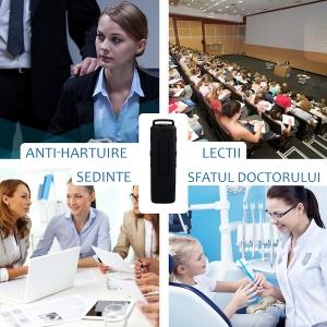 Stick USB cu Reportofon Spion Incorporat | Memorie: 8GB/560 de ore inregistrari | Calitate audio: Ultra Clear HD | Casti - ascultare directa a inregistrarilor | Baterie: 25 de Ore3