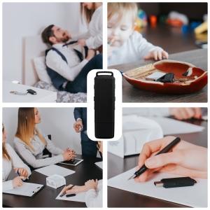 Stick USB cu Reportofon Spion Incorporat | Memorie: 8GB/560 de ore inregistrari | Calitate audio: Ultra Clear HD | Casti - ascultare directa a inregistrarilor | Baterie: 25 de Ore4