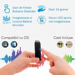 Stick USB cu Reportofon Spion Incorporat | Memorie: 8GB/560 de ore inregistrari | Calitate audio: Ultra Clear HD | Casti - ascultare directa a inregistrarilor | Baterie: 25 de Ore1