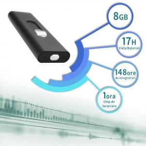 Reportofon Spion Mascat în Stick USB de Memorie - Activare Vocală - Stocare 147 de Ore - Memorie 8GB3