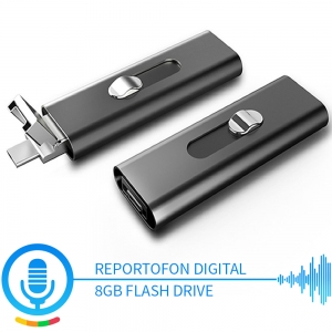Reportofon Spion Mascat în Stick USB de Memorie - Activare Vocală - Stocare 147 de Ore - Memorie 8GB0