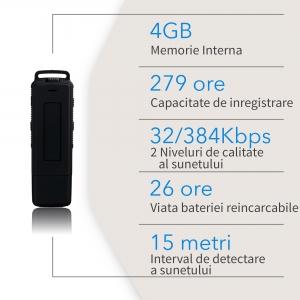 Stick USB de Memorie Reportofon Spion Profesional 4GB, Capacitate 280 de Ore, Autonomie 25 de Ore, Sunet Ultra Clar SP4GBHN2808