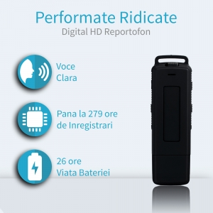 Stick USB de Memorie Reportofon Spion Profesional 4GB, Capacitate 280 de Ore, Autonomie 25 de Ore, Sunet Ultra Clar SP4GBHN2800