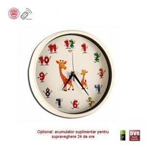 Cameră Spion Integrată în Ceas de Perete pentru Camera Copiilor, Senzor de Mișcare, Telecomandă, 32GB, Rezoluție 1920x1080p0