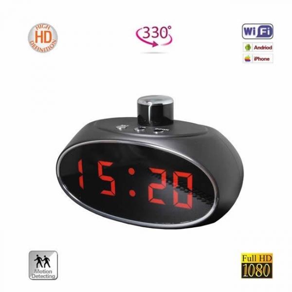 Ceas de Birou Spy Wifi, Ip, P2P, DVR, Unghi Rotativ 330 de Grade, Model Profesional cu Rezolutie Full HD