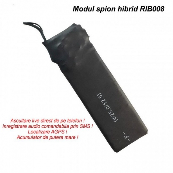 Modul Microfon Spy Hibrid Profesional   Microfon GSM cu Activare + Reportofon 2750 ore + AGPS    4mm grosime RIB008