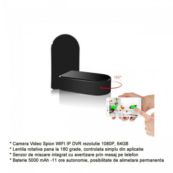 Camera Video Spion pentru Supraveghere Wi-Fi, Ip + DVR, Full HD 1920x1080p, Lentila Mobila 180 Grade Orientata din Aplicatie, Detector de Miscare