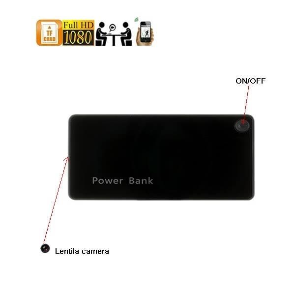 Minicamera video spy ascunsa in baterie externa telefon DVR, wi-fi IP, P2P, 1920x1080p, 64Gb