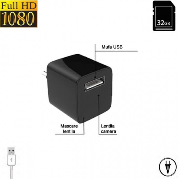 Incarcator USB telefon cu mini modul camera video spy, detector de miscare si alimentare permanenta