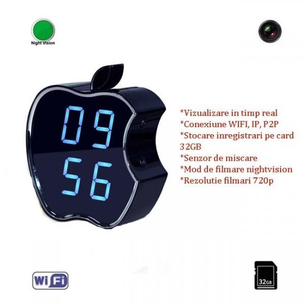 Camera Video pentru Spionaj Audio-Video in Timp Real Wifi, Ip, P2P in Ceas de Birou cu Detector de Miscare si Nightvision
