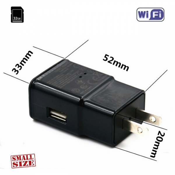 Camera Video Spy WI-FI, Ip, p2p, DVR Integrata in Incarcator USB, Autonomie Nelimitata, 32GB