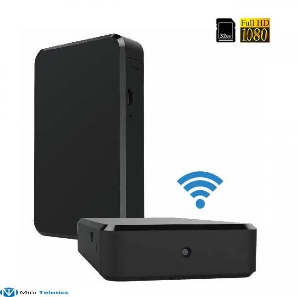 Modul compact cu microcamera video spy  wi-fi ip + dvr, detector de miscare, autonomie 8 ore, 32GB