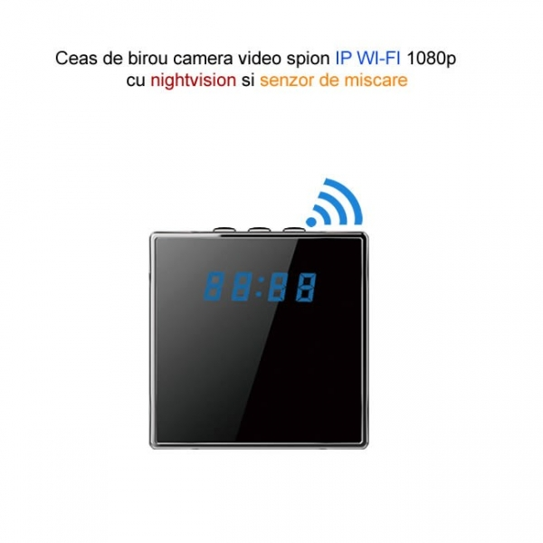 Camera video  IP WI-FI  spion camuflata in ceas de birou cubic, 1920x1080p, senzor de miscare