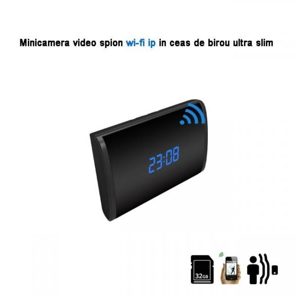 Microcamera Ip spion mascata in ceas de birou