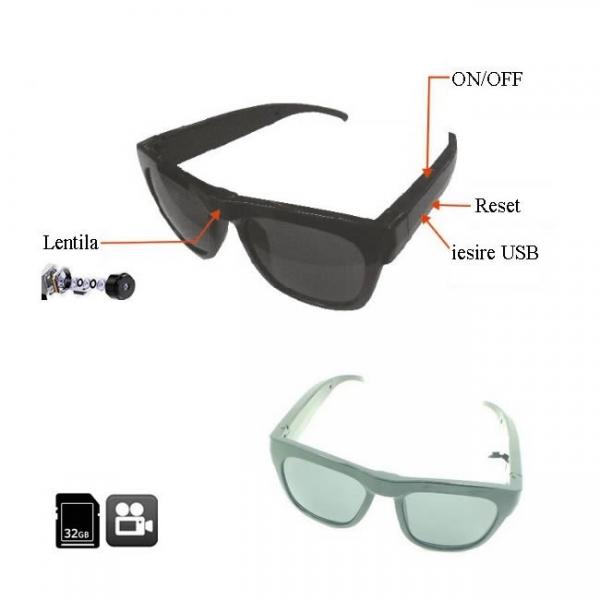 Minicamera video spy camuflata in ochelari de soare, card microSD 32Gb