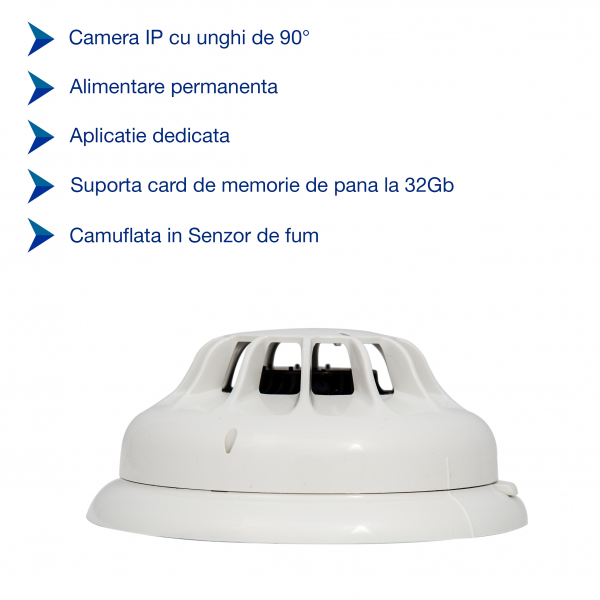 Detector de fum cu microcamera spion WI-FI Ip, hd, senzor de miscare incorporat