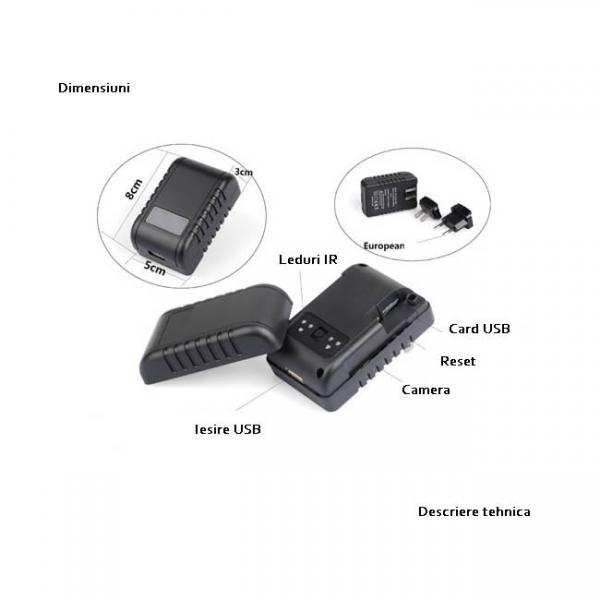 Camera video spion in incarcator, 1920x1080p, wi-fi ip, filmare pe timp de noapte, detector de miscare