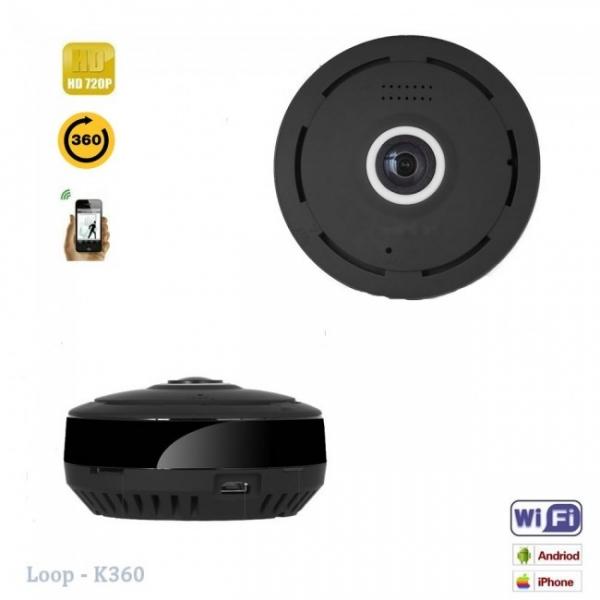 LOOP-K360 - Modul Microcamera Video Spion WiFi IP, 360 de Grade, Filmare pe Timp de Noapte, Unghi Lentila 180°, Detector de Miscare, 128Gb