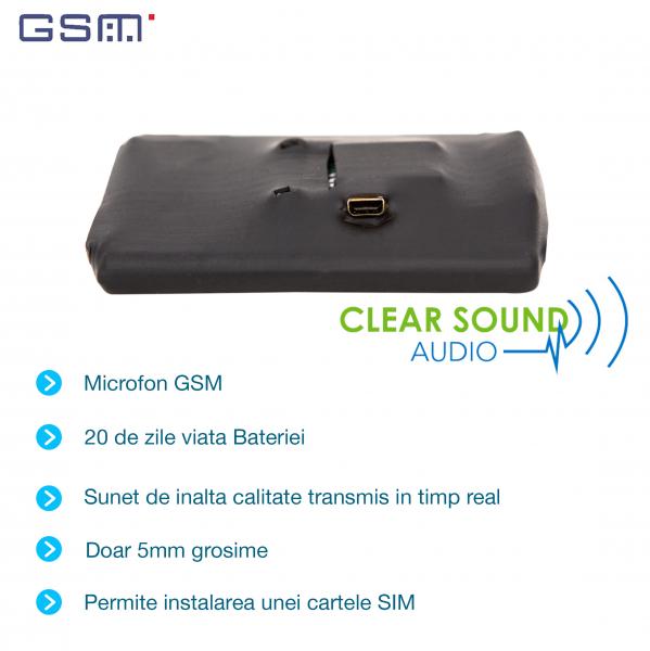 Microfon GSM Spion Profesional cu Autonomie 20 de Zile   Ascultare in Timp Real de pe Telefon   PowerXL20g