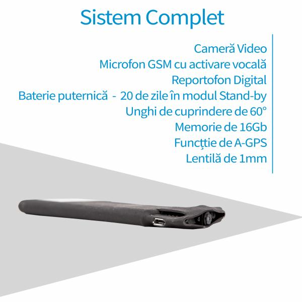 Microfon spy Hibrid cu microcamera video + reportofon + microfon gsm cu detectie voce si functie de AGPS