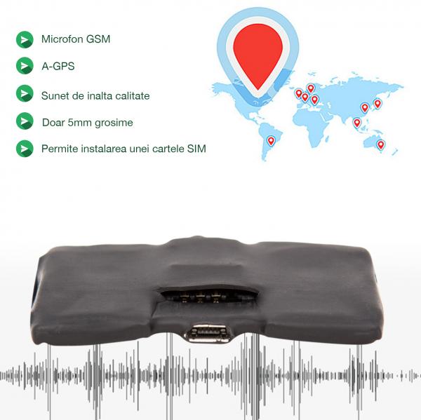 Microfon Spion Hibrid Profesional cu Modul Gsm cu Activare Vocala + Reportofon + AGPS, Magnet, FLYRIB008, 2750 Ore Stocare
